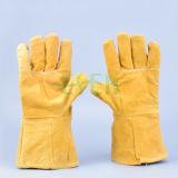 Doppelte Palmen-lederne Handschuhe, die Arbeitskuh-aufgeteilte Handschuhe schweissen