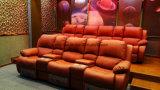 Sofà del cuoio del teatro della disposizione dei posti a sedere del cinematografo della casa della presidenza di film con Cupholder