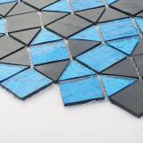 Stanza da bagno mattonelle blu e nere di Backsplash di cristallo del blocchetto di mosaico