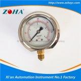最下の接続の衝撃抵抗満たされたオイルの圧力計