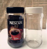 Botella de cristal clásica del café. Tarro de mermelada. Botella de aceite esencial
