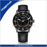 QUARZ-Sport-Edelstahl-Vorwahlknopf Form-der schwarzen Armbanduhr-Männer Luxux