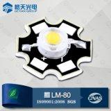 CCT6000k-6500k refroidissent la diode blanche 3W de la haute énergie DEL de 240-280lm Bridgelux