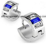 Blaue Zircon-Einlegearbeit-Edelstahl-Form-Schmucksache-Ohrringe
