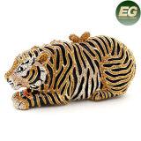 Rhinestone Animal Diseño Bolsa De Tarde Tiger Forma De Cristal Partido Bolsas Leb729
