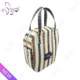 Sac gris de lavage de course de sacs de mémoire de sacs de produit de beauté de chaîne de caractères de plaid de coton