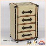 Antiker büscheliger Brown hölzerner Leinenschrank der Möbel-4-Drawer mit Rädern für Wohnzimmer