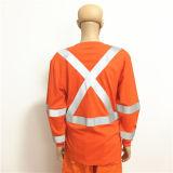 Workwear Flourescent 100% del vestito della tuta del franco del cotone dell'arancio con riflettente