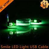 LED 빛 미소 USB Andriod 이동 전화를 위한 비용을 부과 데이터 케이블