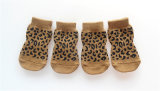 Chaussettes antidérapantes de tricotage sexy d'animal familier de pattes d'impression de léopard