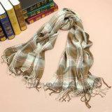Beige van de Controle van het Geruite Schotse wollen stof van de manier Geweven Dame Shawl/Sjaal (HWBA09)