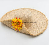 Bello cappello su ordinazione della visiera della spiaggia di Sun della paglia della rafia con il fiore Decrate (CPA_90060)