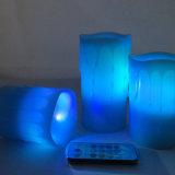 Blauwe LEIDENE Zonder vlammen van de Pijler Kaars met Tijdopnemer en Verre 18-sleutel