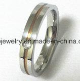 Anillo del acero inoxidable de la CZ de la alta calidad de la manera de la joyería (CZR2525)