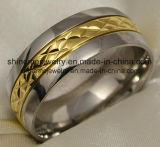 18k de zwarte Geplateerde Snijdende Ring van de Juwelen van het Lichaam van het Titanium (TR1829)