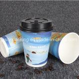 손잡이를 가진 처분할 수 있는 커피 종이컵