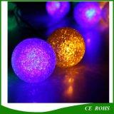 A corda solar da forma da esfera do diodo emissor de luz da cor nova do projeto 12 ilumina luzes solares ao ar livre internas para o Natal