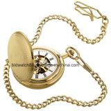 Cadeado de relógio de bolso do caçador de abertura dupla de ouro personalizado