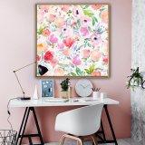 Het roze Olieverfschilderij van het Canvas van Bloemen