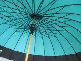 """ombrello diritto del tessuto di seta naturale di legno aperto dell'asta cilindrica del manuale di 23 """" X24k (GU035)"""