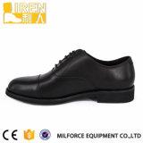 Black Gueuine Cow Leather PU Leather Lining Calçado do Exército Calçado de escritório militar