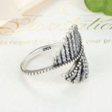 925 Sterling Silver Phoenix Feather Anel de prata com anel cúbico claro Mulheres Engagement Fine Jewelry Mood Ring