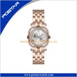 De aangepaste Horloges van de Dames van de Luxe van het Horloge van het Kwarts van het Roestvrij staal van het Embleem met de Wijzerplaat van de Zwabber