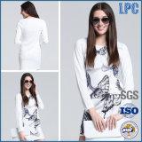Heiße Verkaufs-lange Hülsen-weißes Drucken Fshion Kleid