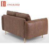 Sofás baratos pequenos do sofá do couro da cor de Brown