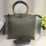 Beutel der 2017 realer lederner Handtaschen-Troddel-Form-Dame-Schulter mit Metallrundem Ring-Griff Emg4823
