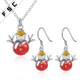 昇進のギフトのスノーマンのネックレスのイヤリングの宝石類はクリスマスのためにセットした