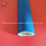 Chemise enduite de silicone de fibre de verre de chemise de résistance d'incendie avec le Velcro