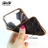 iPhone7를 위한 가죽 패턴과 크롬 색깔 하나 프레임 TPU 전화 상자를 인쇄하는 3D 기복