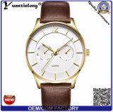 Yxl-438 fait dans la montre dernier cri de Caseback d'acier inoxydable de mode de la Chine remet la montre des hommes de quartz de cuir de marque d'affaires de montre-bracelet de quartz