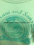 Лт. Зеленый пуловер Терри Slub 100%Cotton для женщин с резиновый печатью