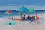 Pittura di arte di vista sul mare con il materiale della sabbia