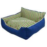 洗濯できる正方形の縞犬ペットベッドまたは犬のソファーかマット(KA0065)