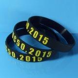 Wristband силикона печатание высокого качества таможни 12mm экранированный шелком