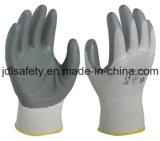 Серым перчатки связанные нейлоном работая с черным ровным покрытием нитрила (N1551B)