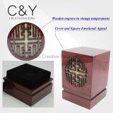 Caixa de empacotamento de madeira quadrada gravada de Parfum com teste padrão gravado