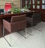 Cadeira de couro, cadeira de couro do escritório, cadeira do frame de aço (C0911)