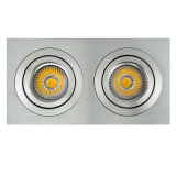 Drehbank-Aluminium GU10 MR16 Multi-Winkel 2 Geräte quadrieren Neigung vertiefte LED-Deckenleuchte (LT2303B-2)