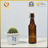 Bernsteinfarbige Bier-Glasflasche des Farben-Großverkauf-Eisbrew-330ml 500ml mit Schwingen-Oberseite-Kappe (482)