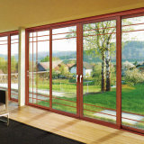 Дверь средней восточной стандартной вишни твердой древесины деревянная алюминиевая (FT-D126)