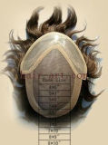 Волосы Remy - Toupee с передним шнурком и Mono и PU