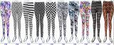 Frauen-Form-Kleidungs-9. Länge übertragene Druck-dünne Jeans