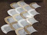 생선 비늘 디자인 Emperador 특별한 암흑, 베이지색 및 Carrara 백색 대리석 모자이크