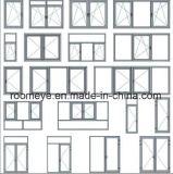 Roomeye a personnalisé le guichet en aluminium de tissu pour rideaux en verre Tempered de double vitrage de Brown (ACW-035)