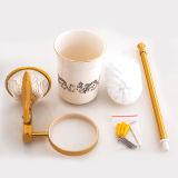 Suporte de escova fixado na parede do toalete no ouro chapeado e pintado (BaQaB3002-EL-GD)