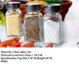 Jarro de vidro de especiarias com vaso de chumbo com tampa de vedação